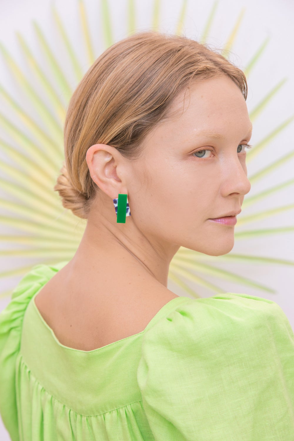 Double Rec earrings - Snow Green