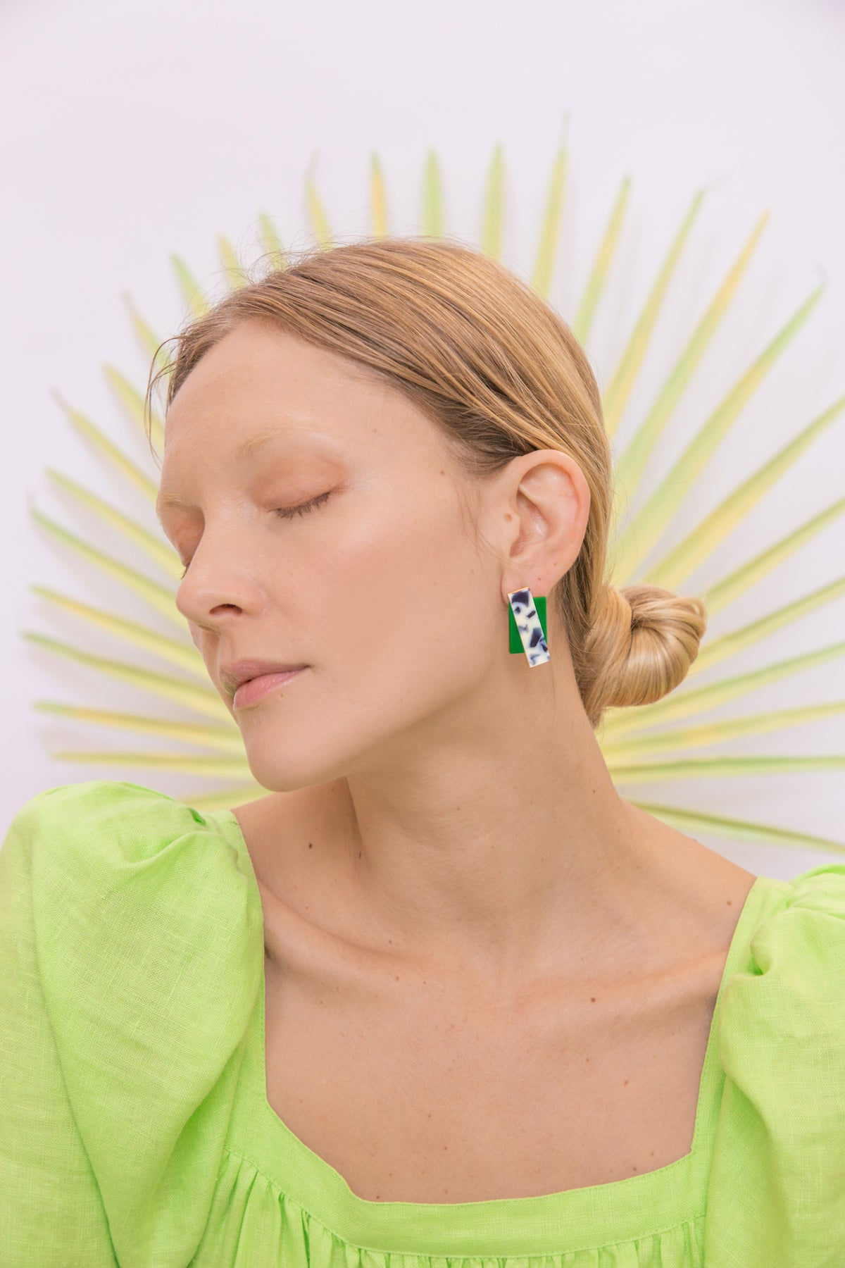 Image of Double Rec earrings - Snow Green