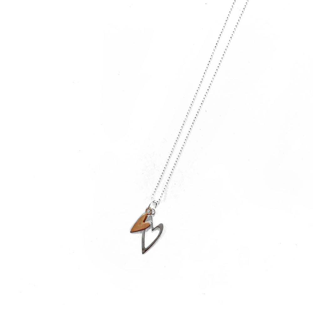 Image of Sterling Silver & Rose Gold Double Heart Charm Necklace