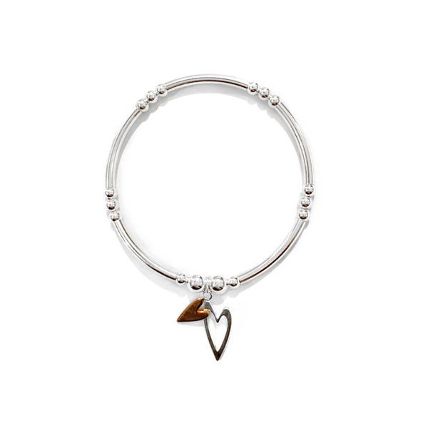 Image of Sterling Silver & Rose Gold Double Heart Charm Bracelet