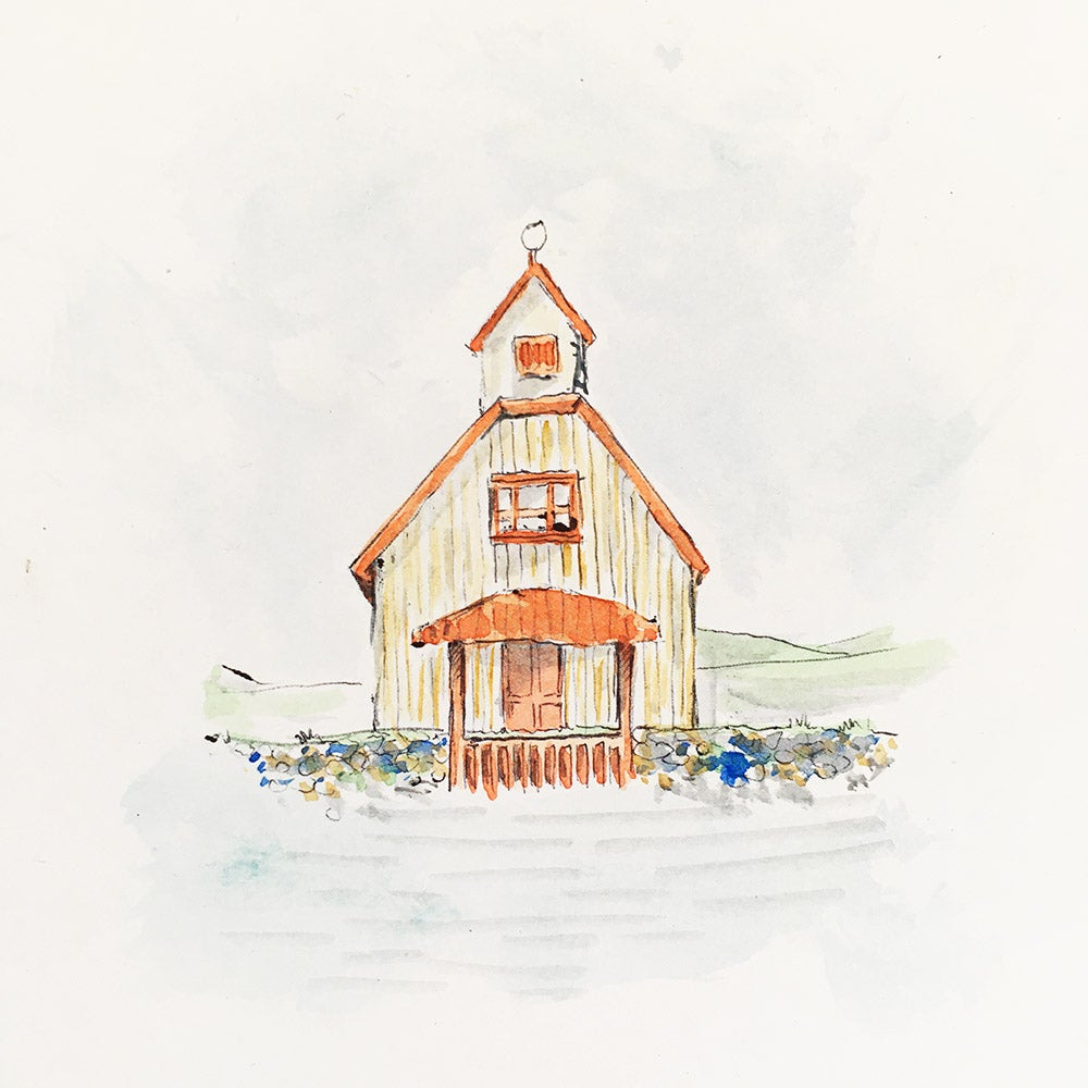 Image of Aquarelle d'une maison rouge