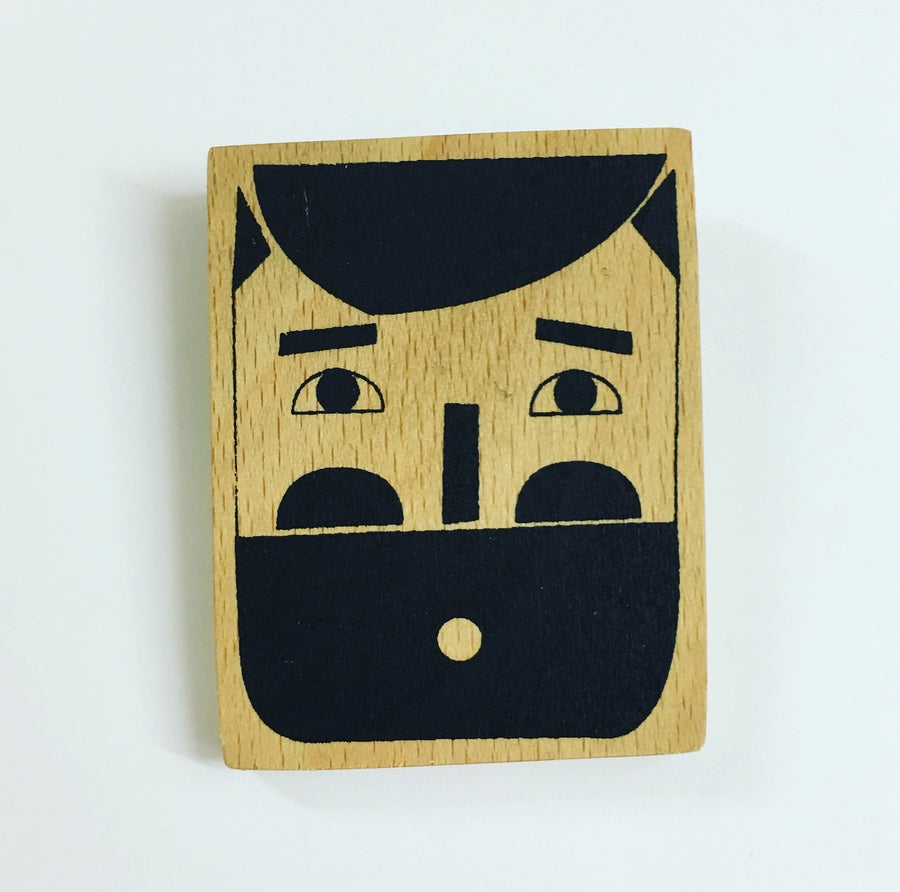 Image of Mr Beardy Hand Screen Printed Wooden Badge