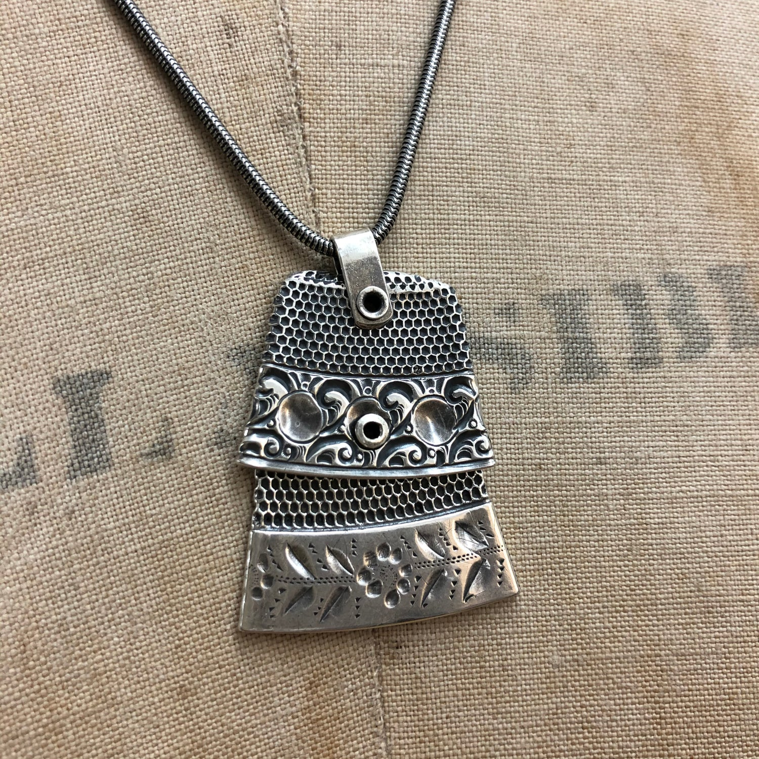 Image of Double silver thimble necklace