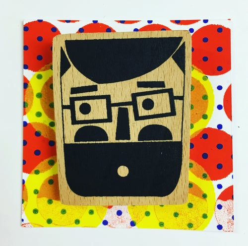 Image of Beardy Mister with Spectacles Hand Screen Printed Wooden Badge