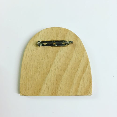 Image of Little Miss Bob Hand Screen Printed Wooden Badge