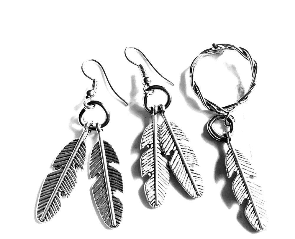 Image of Feathered Earring/Ring Set
