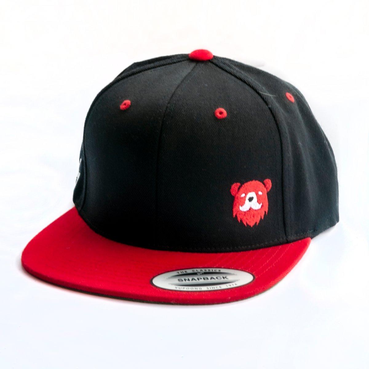 Burly Barber Cap - Black w/ Red Brim