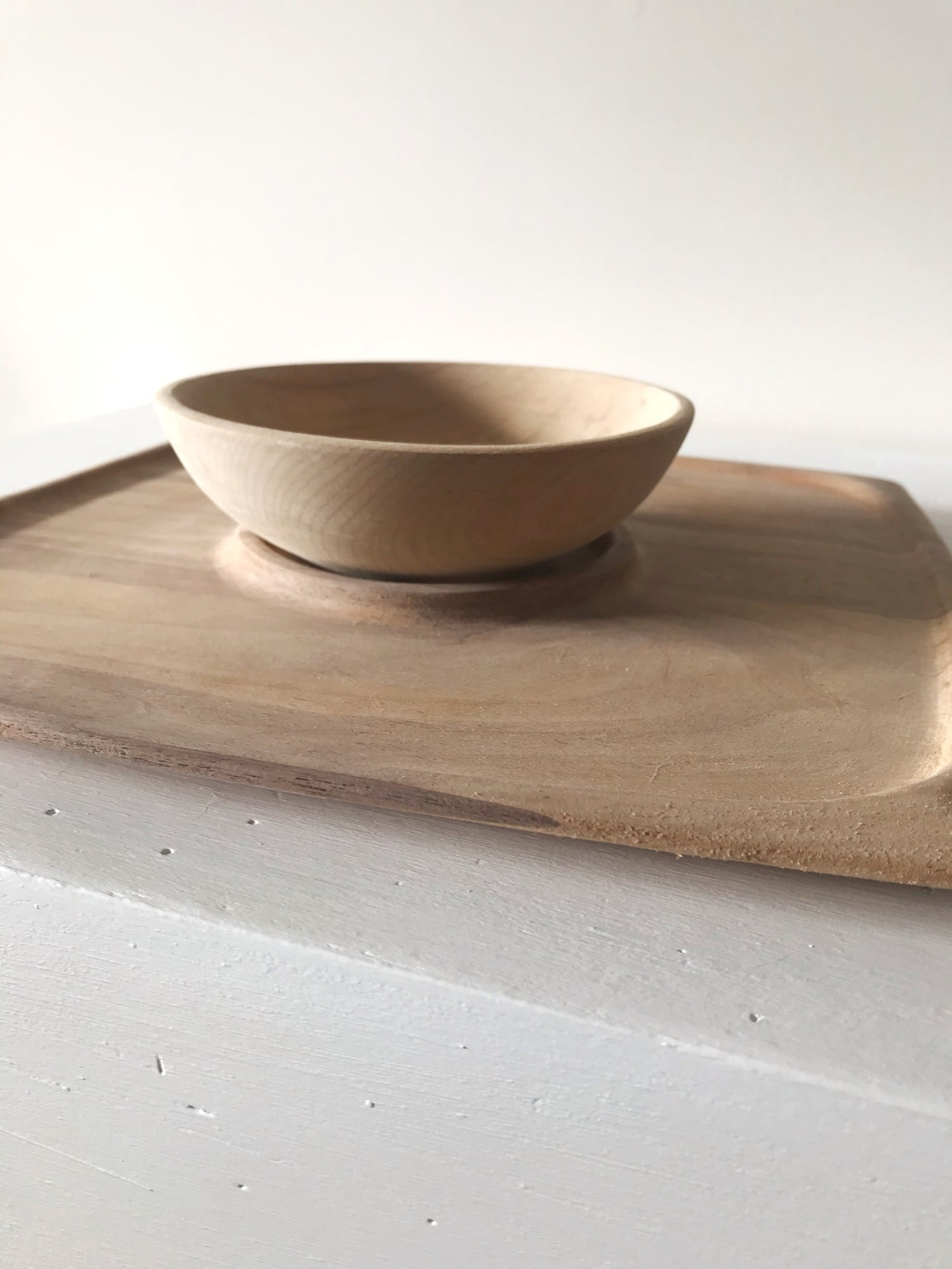 Image of Mid Century Modern Flat Wood Raw Tray