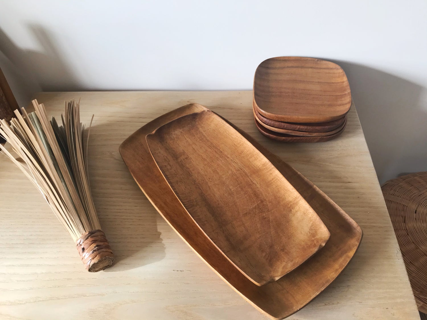 Image of Small and Medium Mid Century Modern Wooden Serving Trays