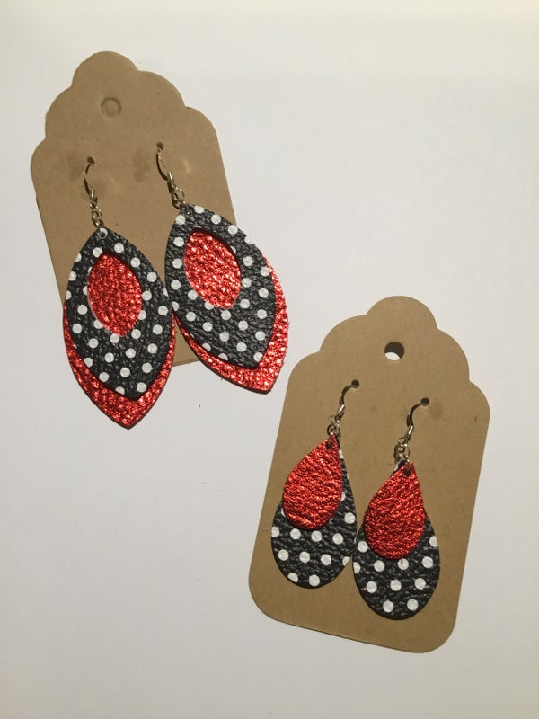 Image of Leather Earrings - Polka Dot and Red Collection