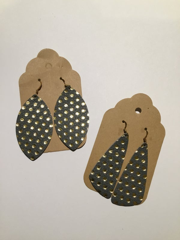 Image of Leather Earrings - Gray with Gold Polka Dot Collection