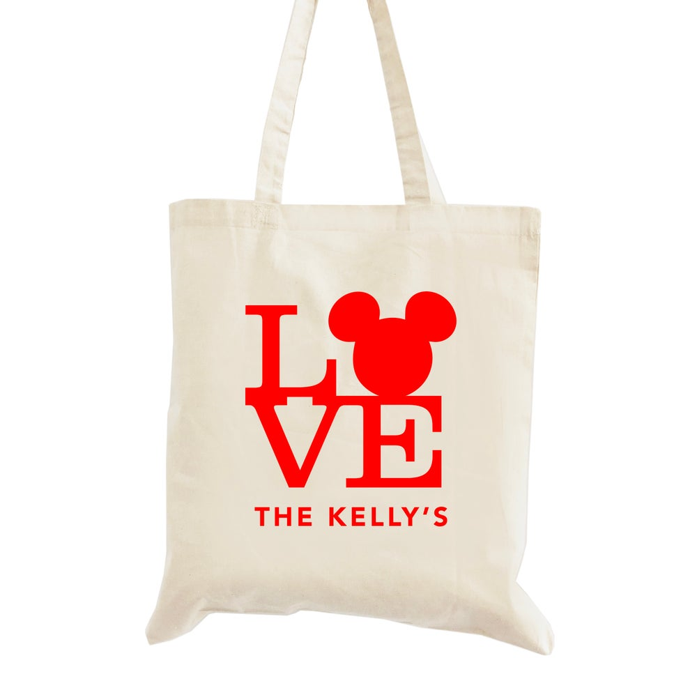 Image of Mickey Mouse Love Wedding Welcome Tote Bag