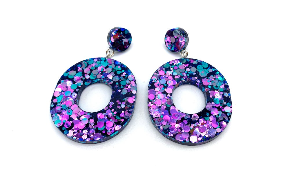Image of Oval Color Shifting Statement earrings