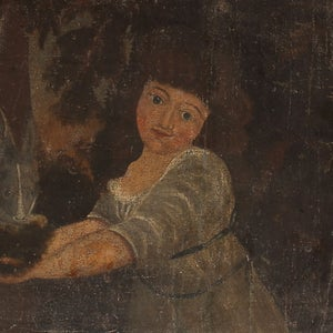Image of 18th Century Oil Painting 'Girl with a Rabbit'