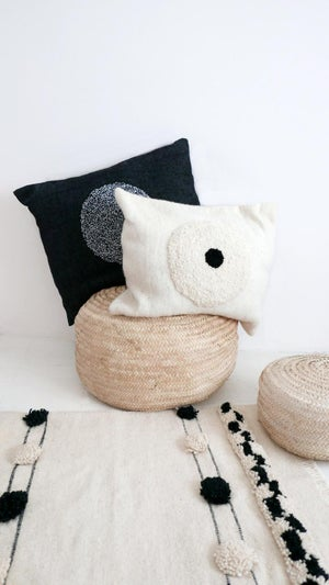 Image of Moroccan pillow cover - wool natural undyed - Textured Circles