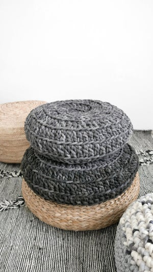 Image of Crochet Floor Cushion thick wool - Gray