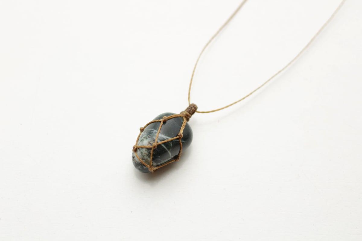 Image of Moss Agate macrame pendant