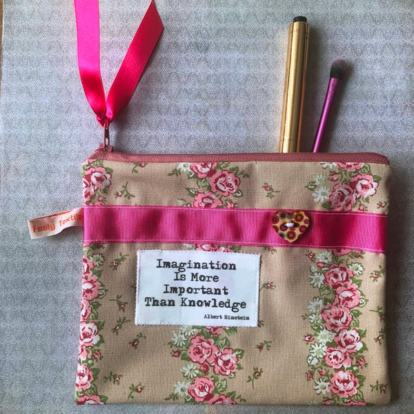 Image of vintage roses`Imagination` quote purse