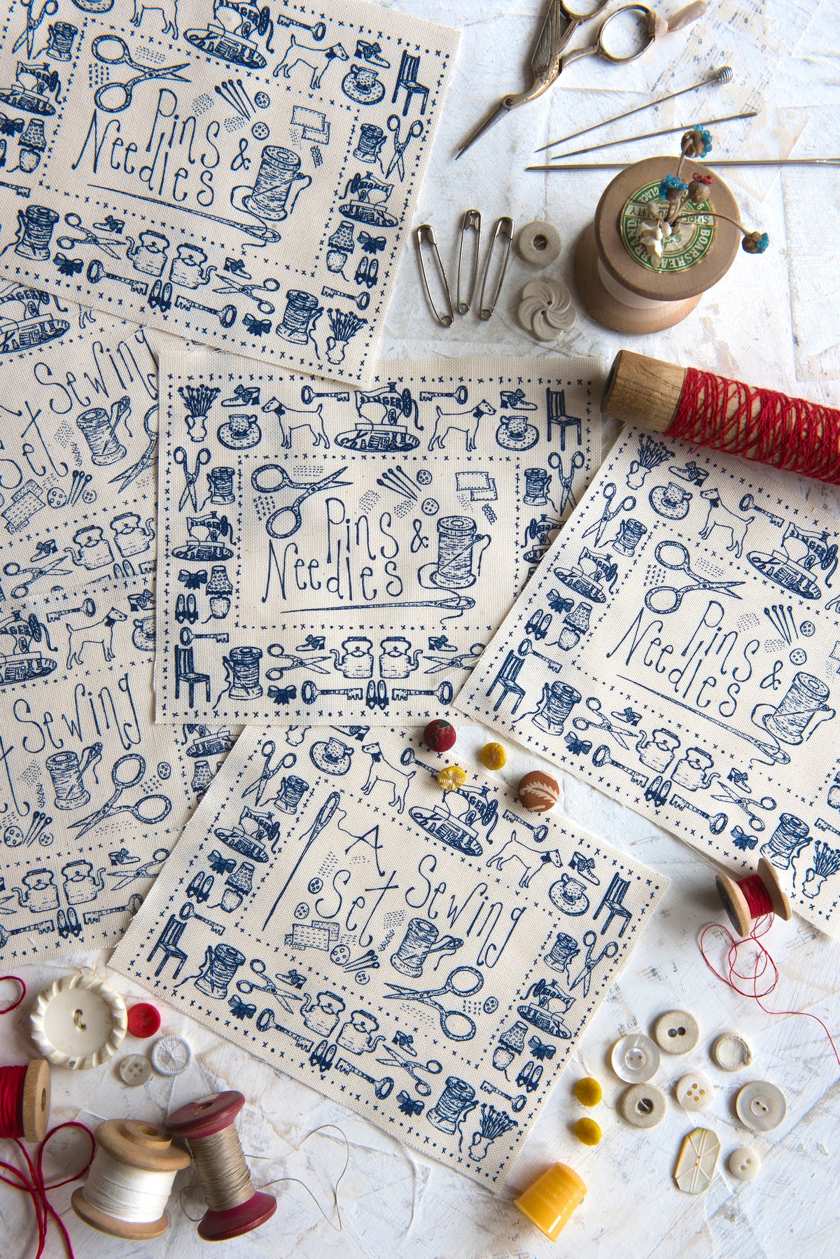 Image of 'Sewing set & Pin cushion' embroidery  templates