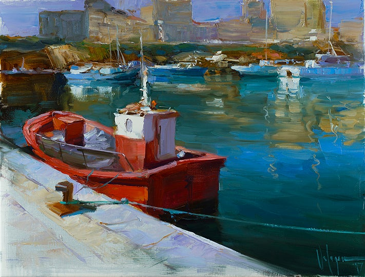 "Image of ""Port at Costa del Maresme"", original painting"