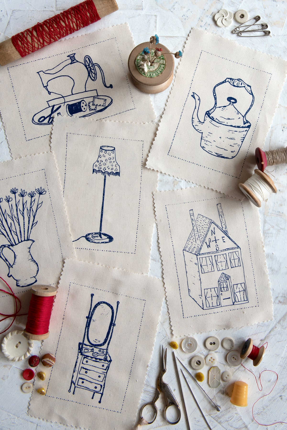 Image of Six assorted embroidery templates