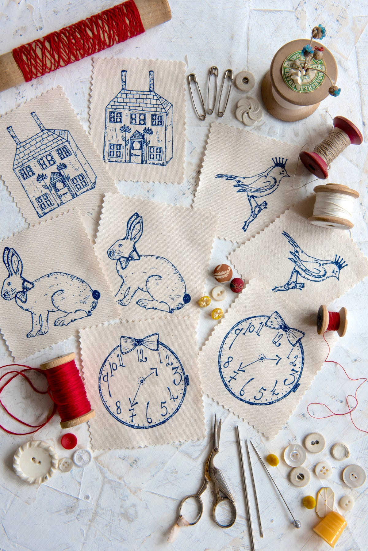 Image of Eight assorted embroidery templates