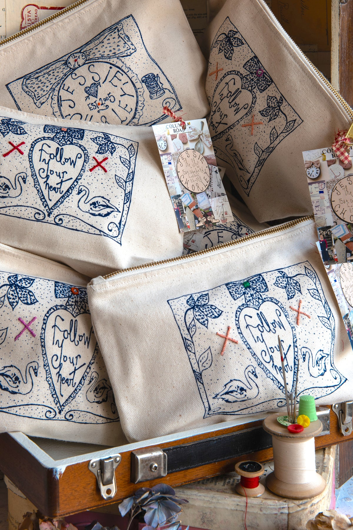 Image of Hand screen printed with stitched detail project bags