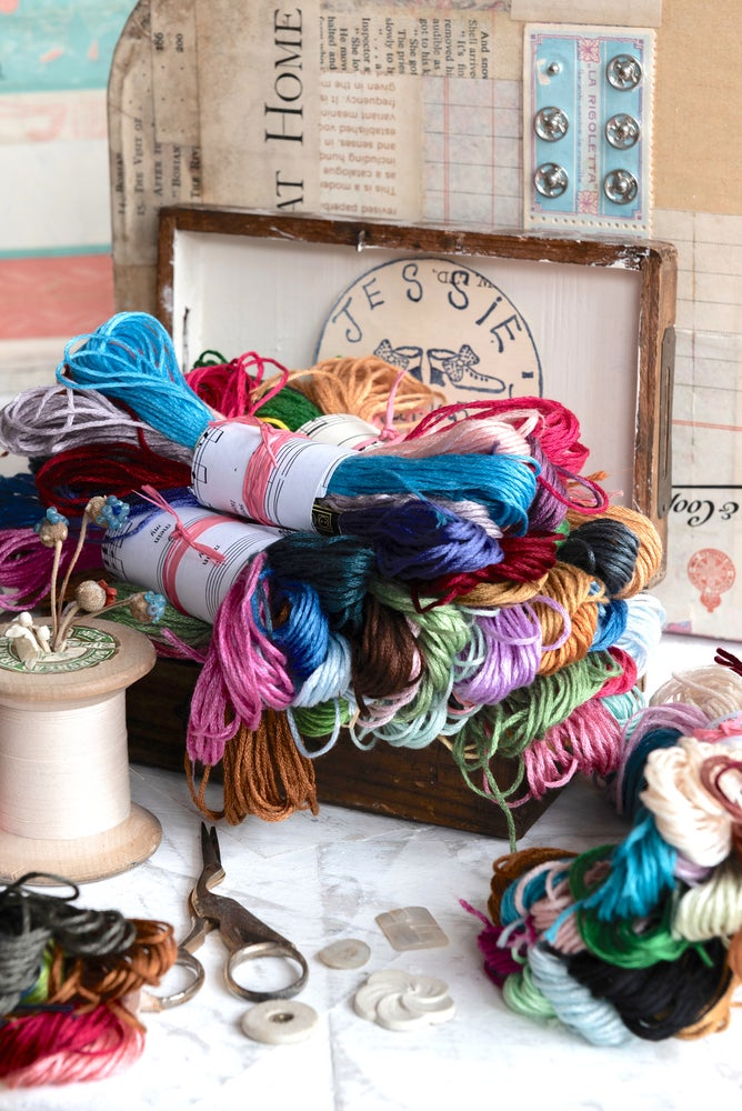 Image of Bundles of assorted embroidery threads
