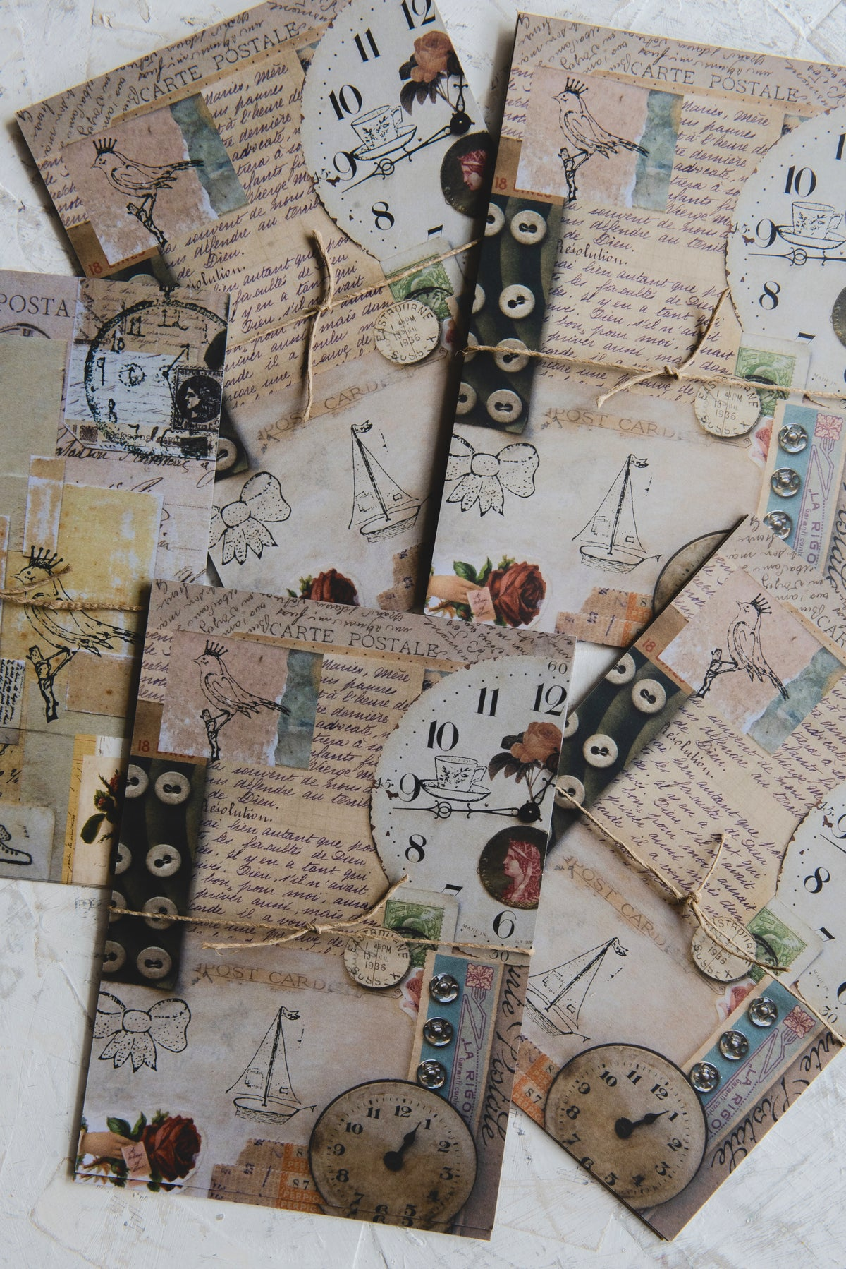 Image of Six large postcards for collage and craft projects