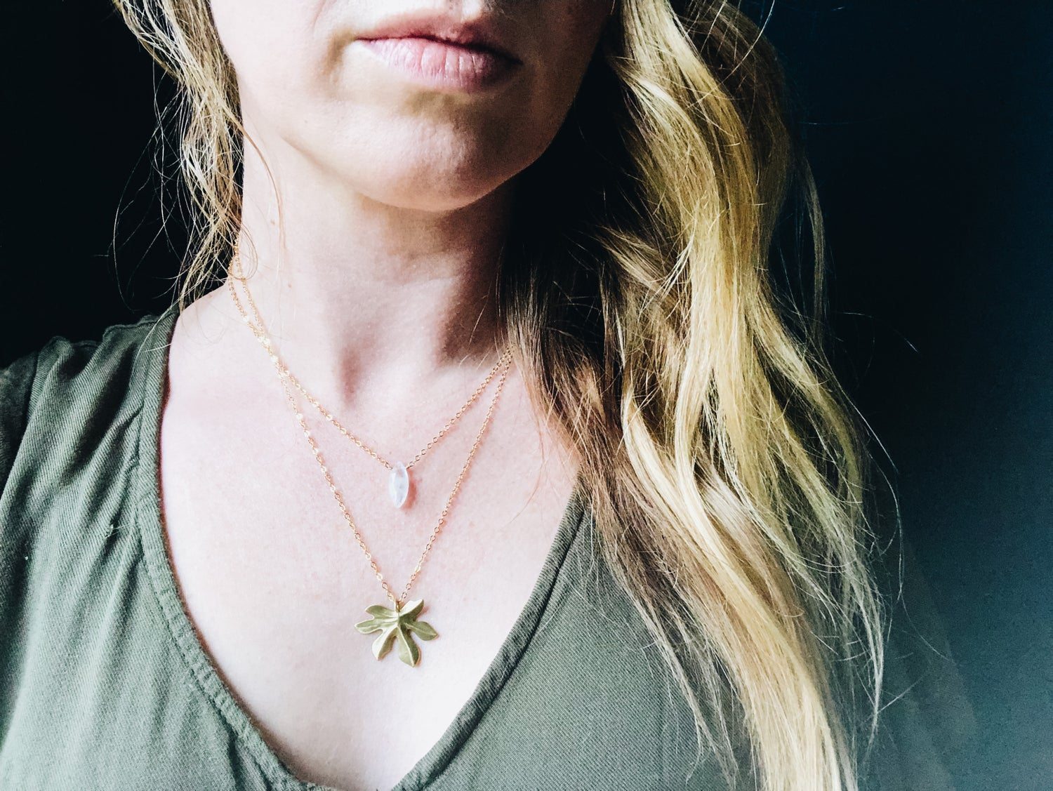Image of Moonstone and Maple Leaf Layering Set