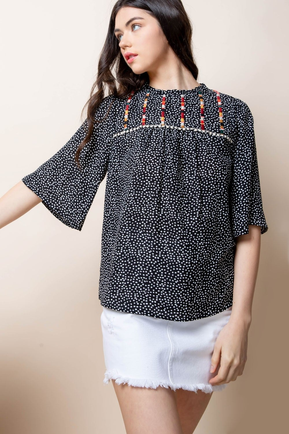 Image of Black Dots Half-Sleeve Top