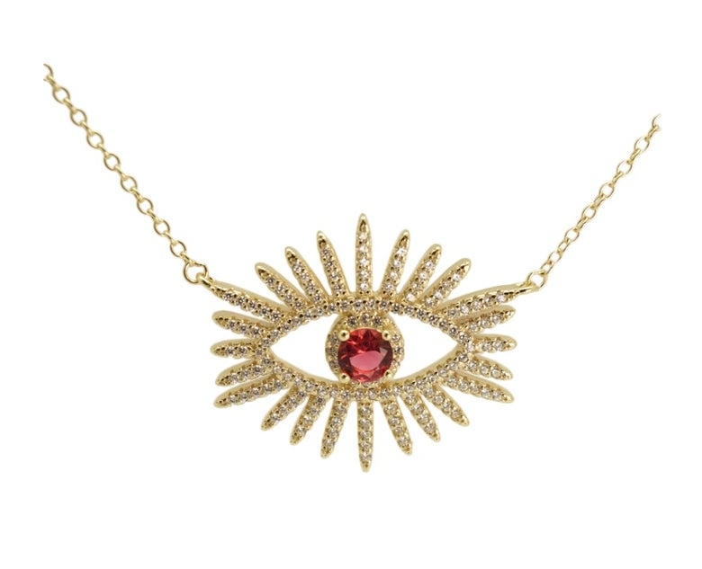 Image of Ruby/Emerald Spark eyed necklace