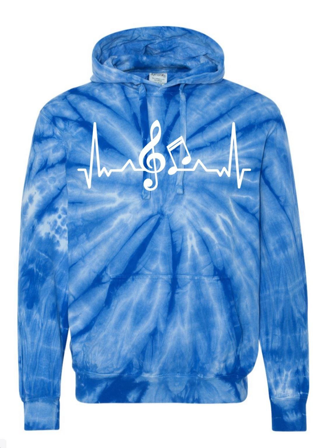 Image of MUSIC HEARTBEAT TIE DYE HOODED SWEATSHIRT