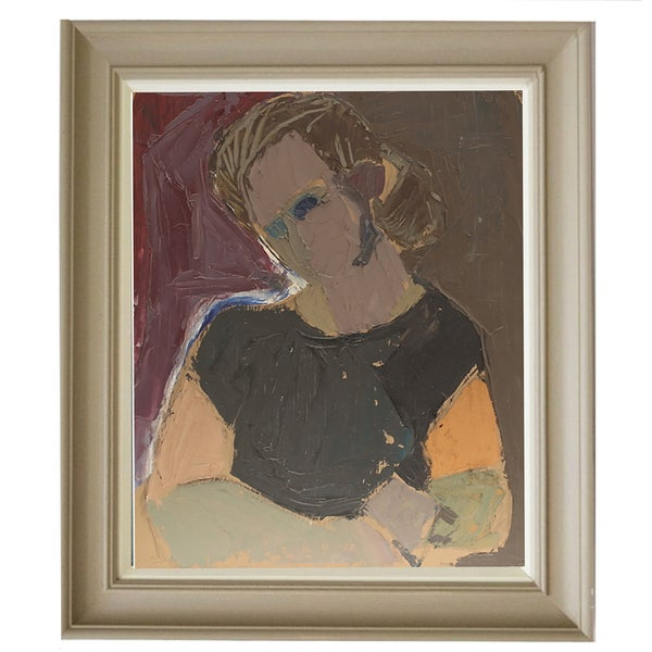 Image of Mid-century Painting, Portrait of a Girl, FRED ANDERSSON (1921-1989)