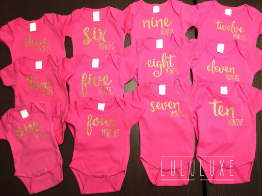 Image of 12 Hot Pink Monthly Onesies | Baby Shower Gift | Month Celebration | Newborn Gift