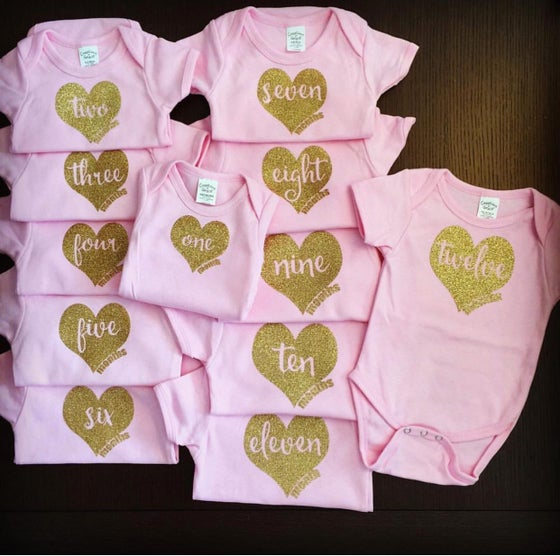 Image of 12 Heart of Gold Monthly Onesies | Baby Shower Gift | Month Celebration | Newborn Gift