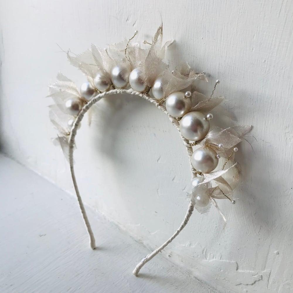 Image of Pearl & Silk Beaded Headband