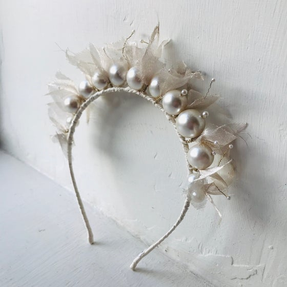 Image of Pearl & Silk Beaded Headband