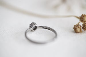 Image of Platinum 4.1mm milled edge rose-cut diamond ring (IOW140)
