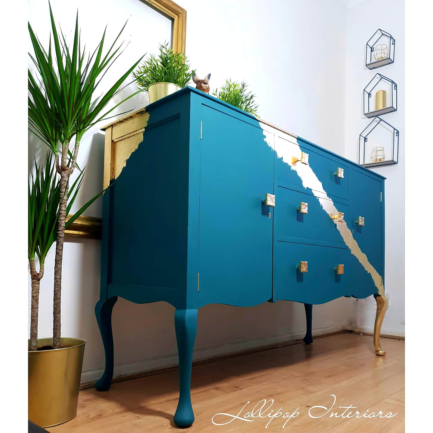 Image of Stunning green and gold leaf cabriole leg sideboard