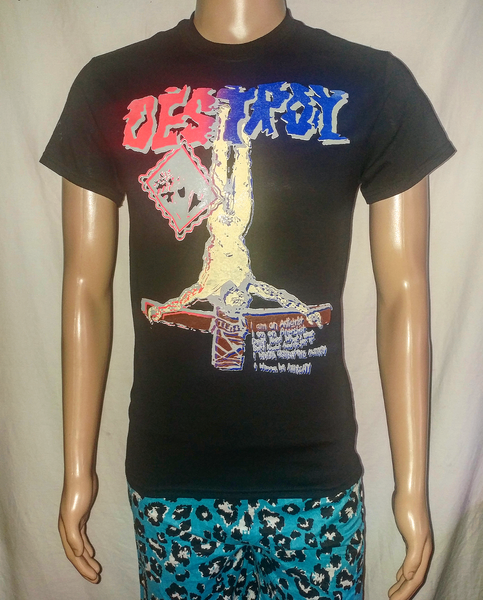 Image of Destroy crucified Jesus full color black tshirt