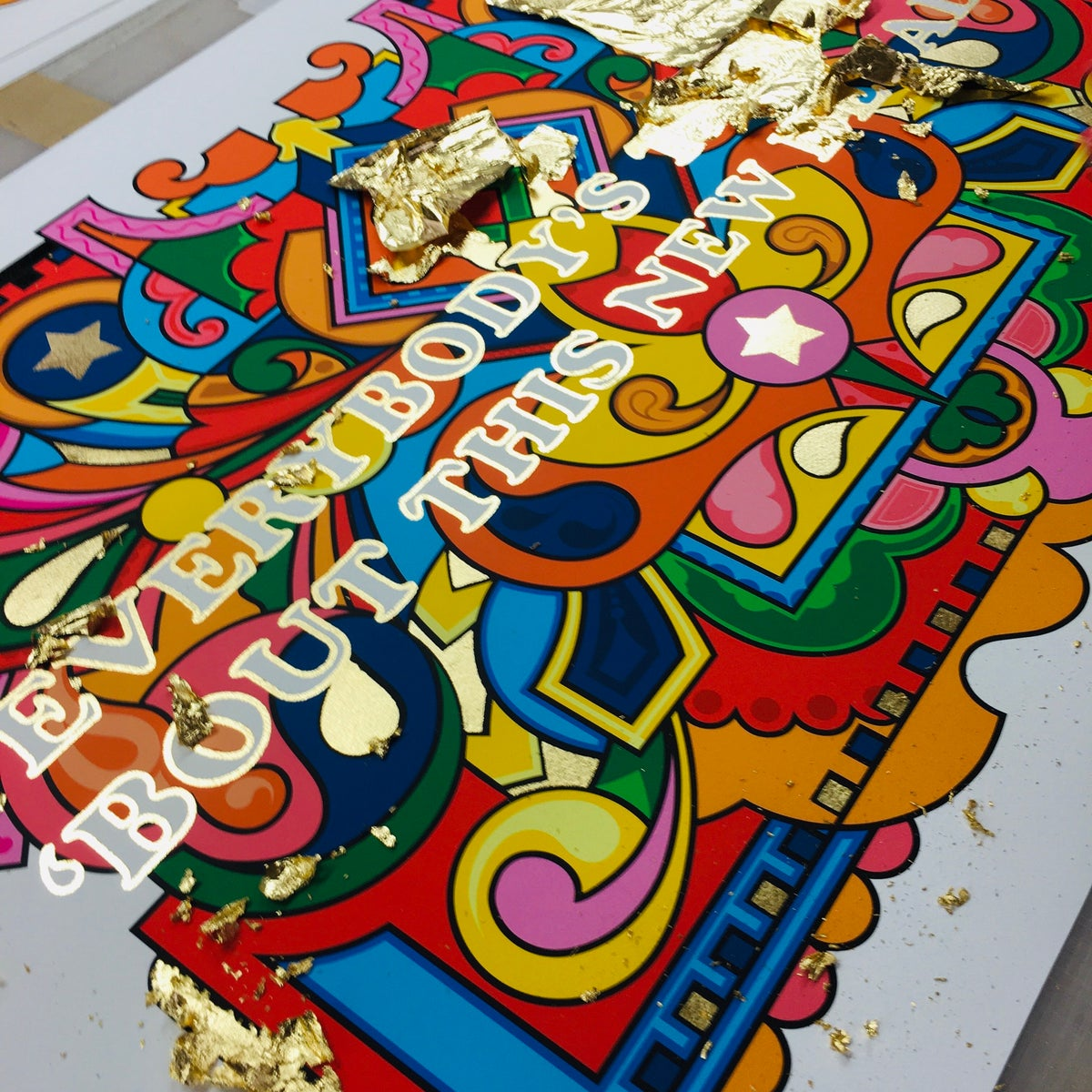 Image of Everybody's Talking Gold edition 2020, Gold Leaf + Giclee, FREE SHIPPING IN UK