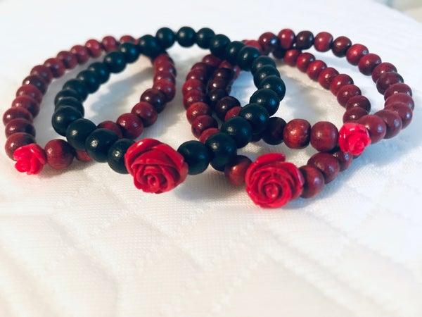 Image of Red Rose Mala Bracelet