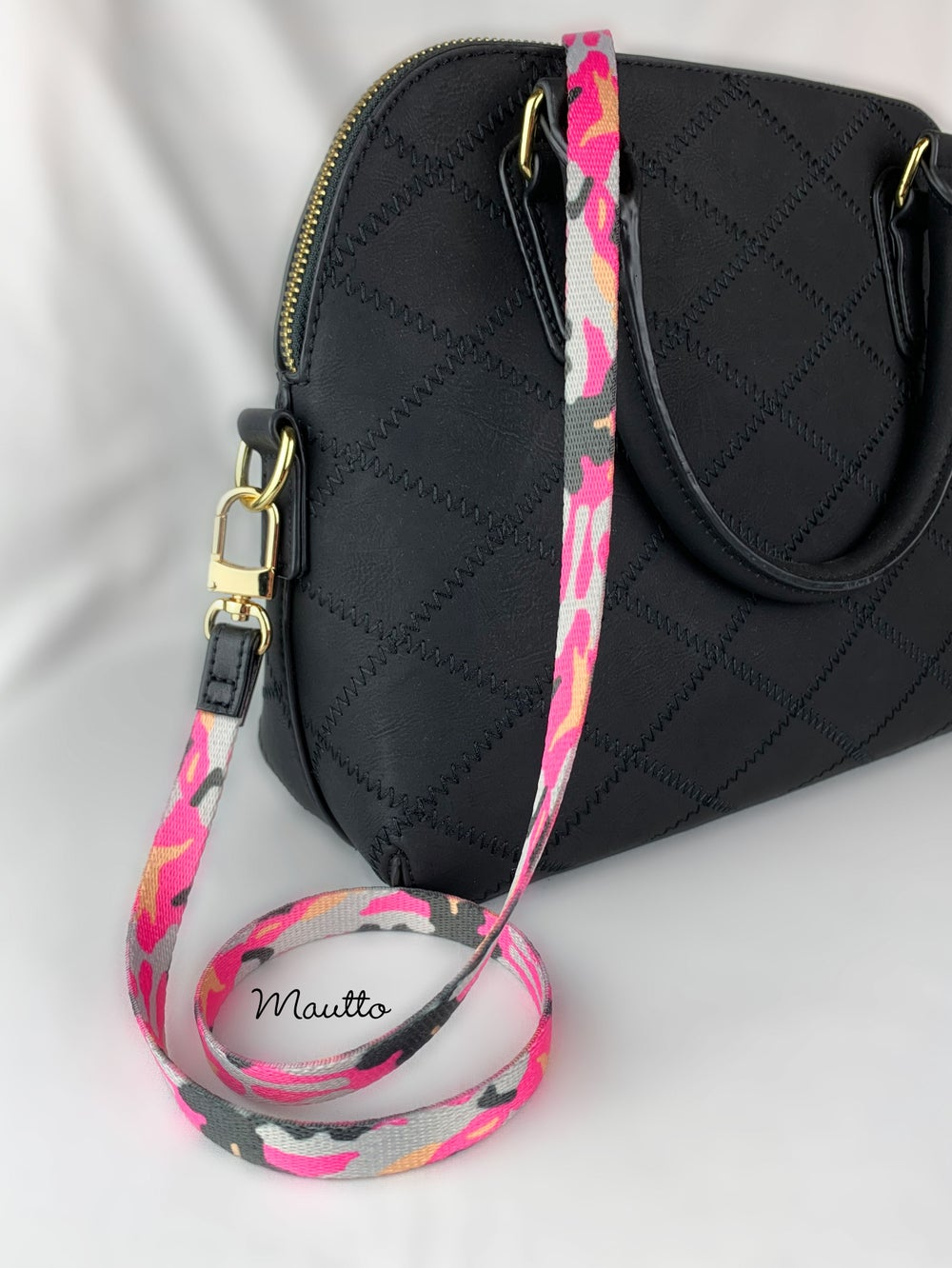 "Image of Pink Camo Petite Strap - 1/2"" Wide - Black Leather Accents - Adjustable Length - #16LG Clips"
