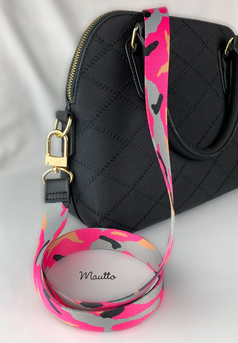 "Image of Pink Camo Strap - 1"" Wide - Black Leather Accents - Adjustable Length - #16XLG Clips"