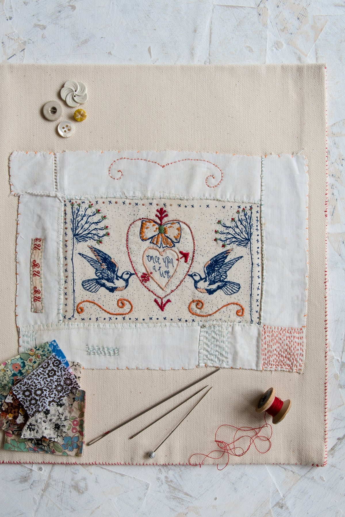 Image of 'Sacred Heart & Doves' embroidery template