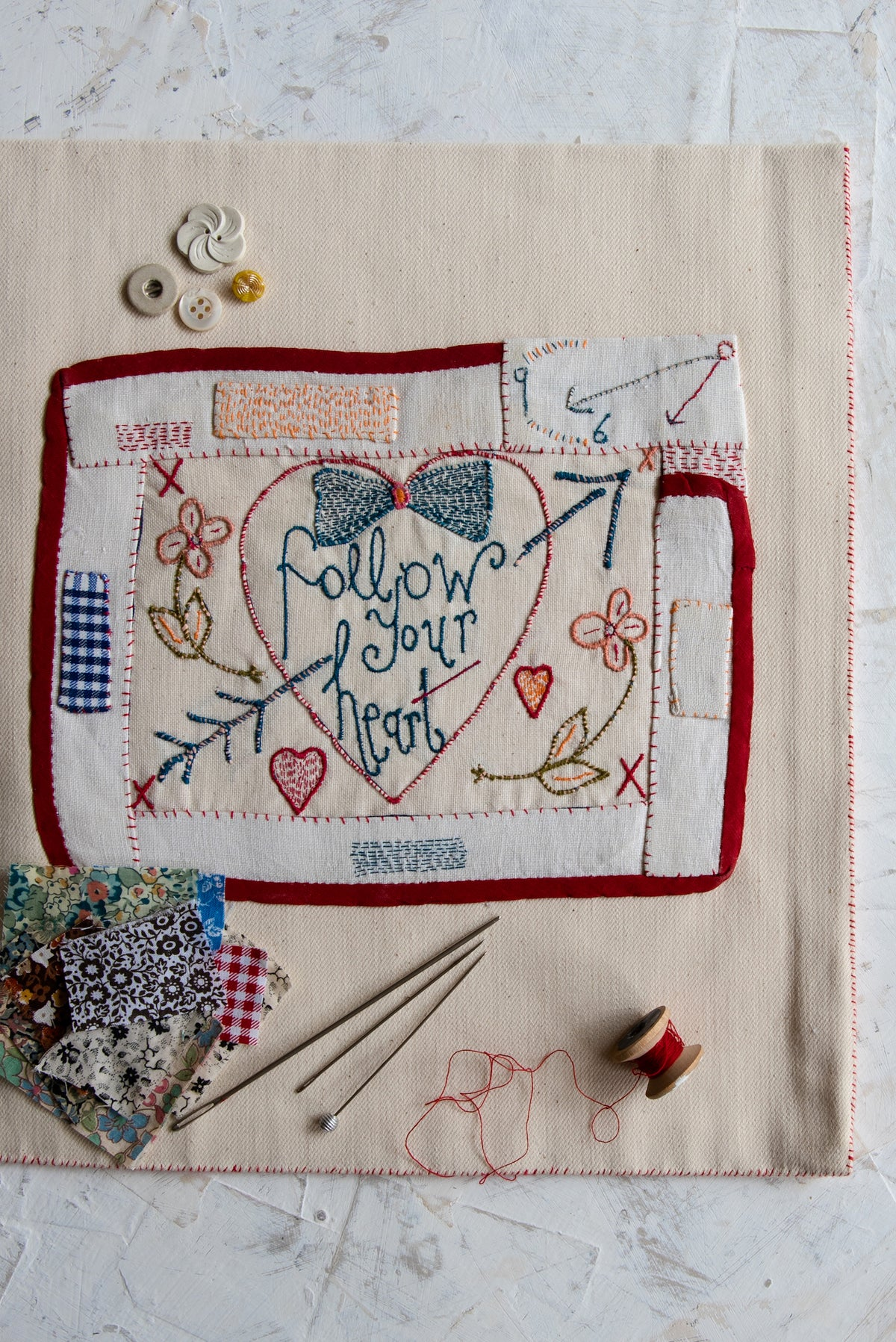 Image of 'Follow Your Heart' embroidery templete