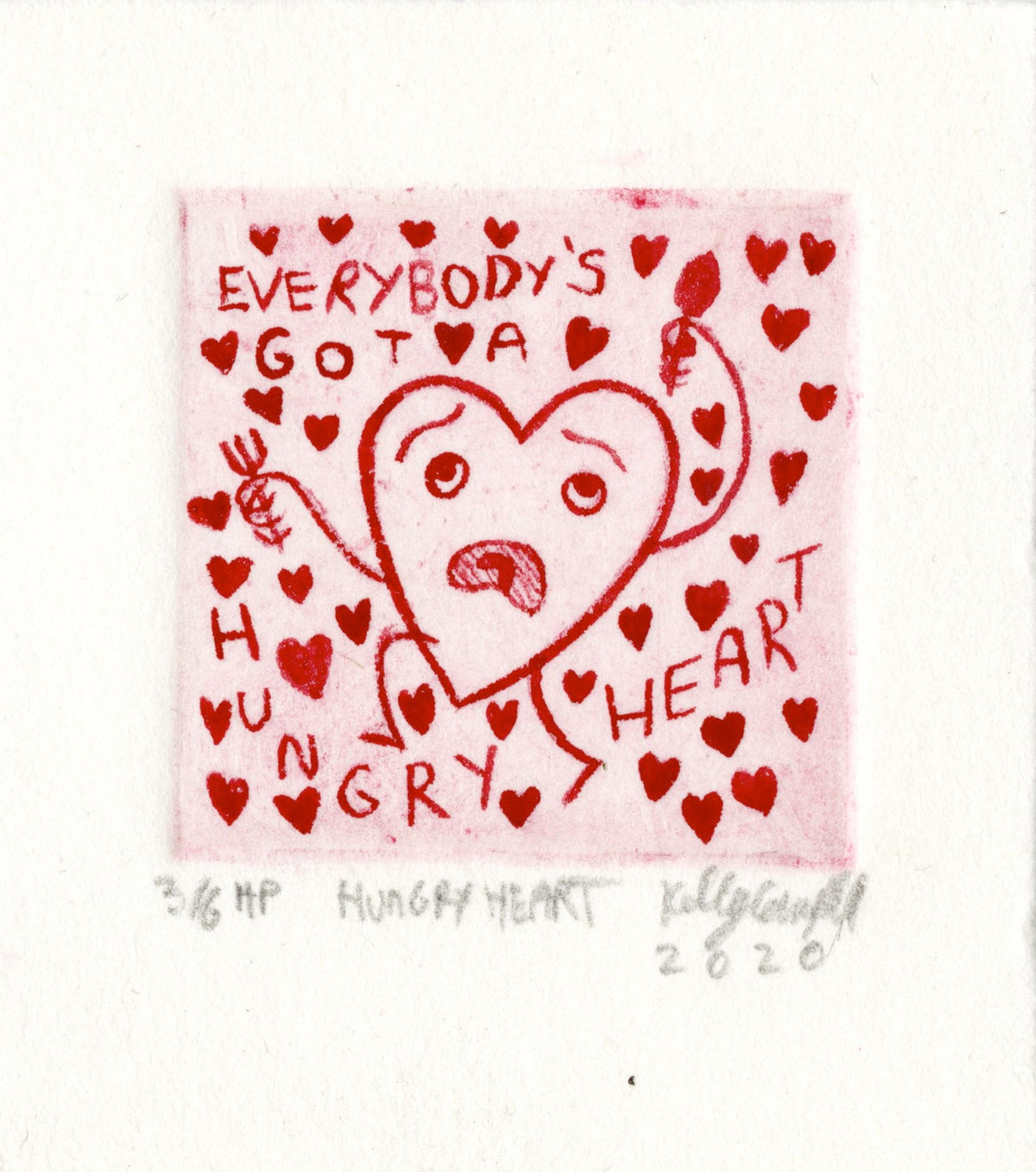 Image of Hungry Heart hand painted mini print