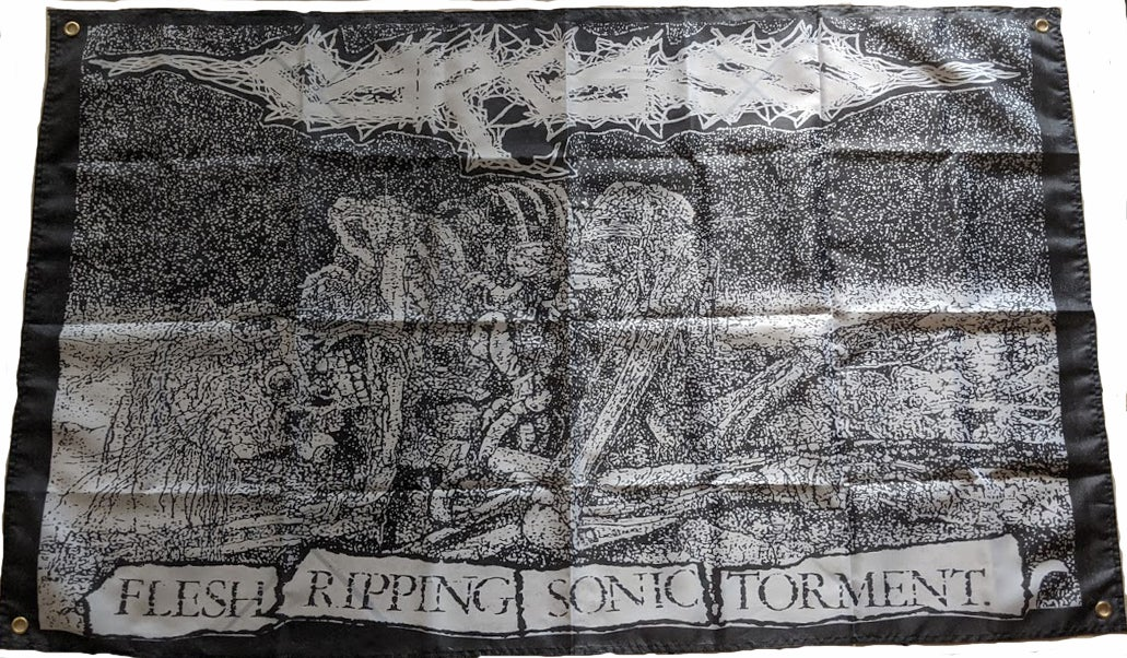 """Image of Carcass """" Flesh Ripping - Banner / Tapestry / Flag"""
