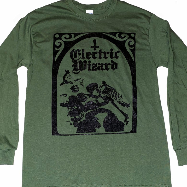 "Image of Electric Wizard "" Legalise Drugs and Murders ""  Green - Long Sleeve T shirt"